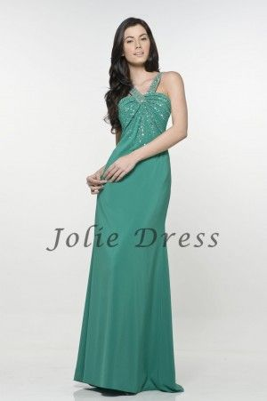 A-Line Straps Beaded Ruched Chiffon Prom Dresses