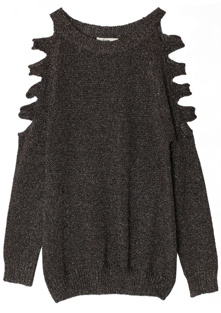 Black Metallic Cut Out Shoulder Jumper - Tops - Retro, Indie and Unique Fashion