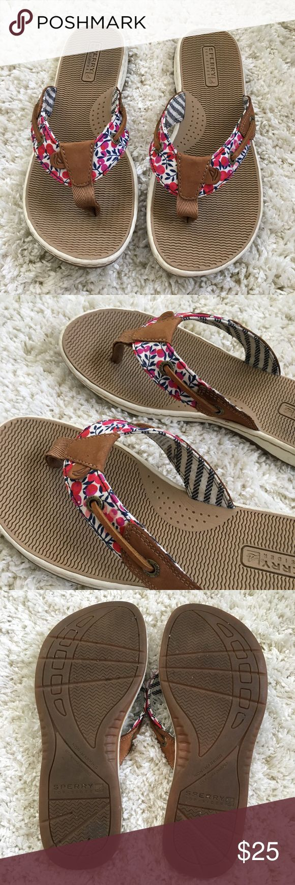 Sperry Sandals Excellent condition Sperry sandals, only worn once. Has cherry design on the straps. Size: 7 Sperry Shoes Sandals