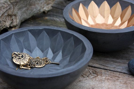 Bali Flower Bowl charcoal concrete bowl with par TheSwedishGypsy