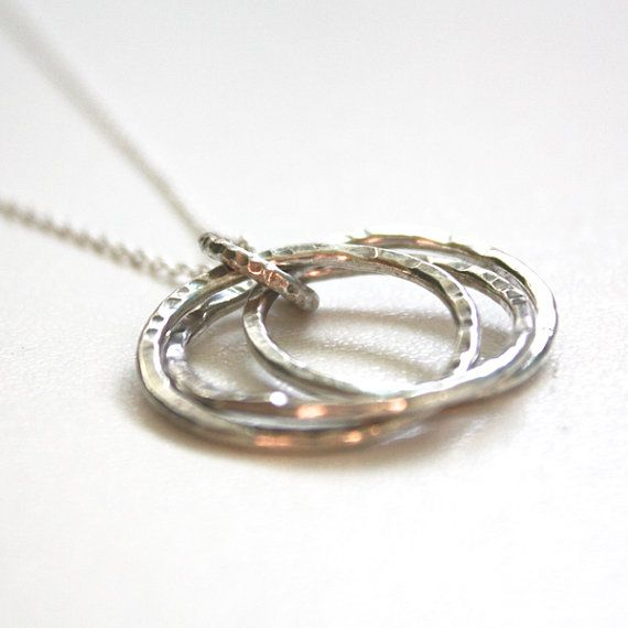 "Sterling Silver Triple Ring Pendant - 1.5mm thick, approx 25mm across, with a 20"" sterling silver cable chain on Etsy, $56.00 AUD"