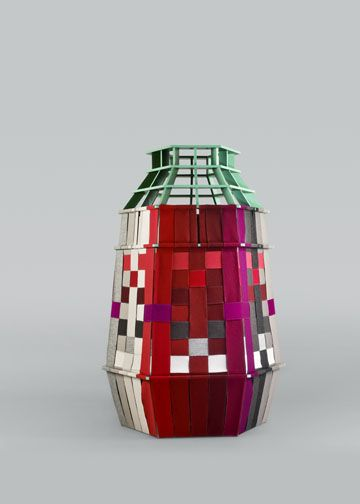 Sofie Brünner - Chroma. Chroma is an exploration of Hallingdal's different hues and how they mix when they are chromatically woven together. A celebration of colour, texture and contrasts captured in a vessel-like structure, it is made from Scandinavian timber painted in contrasting colours.