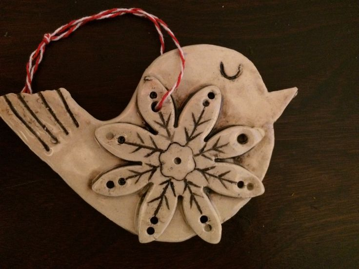 Handmade ceramic bird Christmas ornament. Juliet Promnitz.