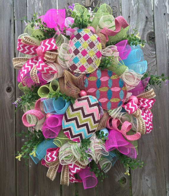 Easter Wreath Bunny Wreath Easter Swag Spring by BaBamWreaths