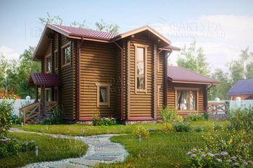 """#гид_по_каталогу Загородный дом- показатель престижа. Загородный деревянный дом – тем более. А если это роскошный дом из бревна, построенный по проекту «Палкино», то это просто эталон хорошего вкуса и комфорта. Заглянем? """"Начинка"""" поражает: просторная гостиная, удобная кухня-столовая, три спальни, два санузла, хозяйственный блок, расширяющий функционал дома, а также два отдельных входа- и всё это по более чем привлекательной цене! Аккуратный эркер с оригинальным окном придает дому романтизм…"""