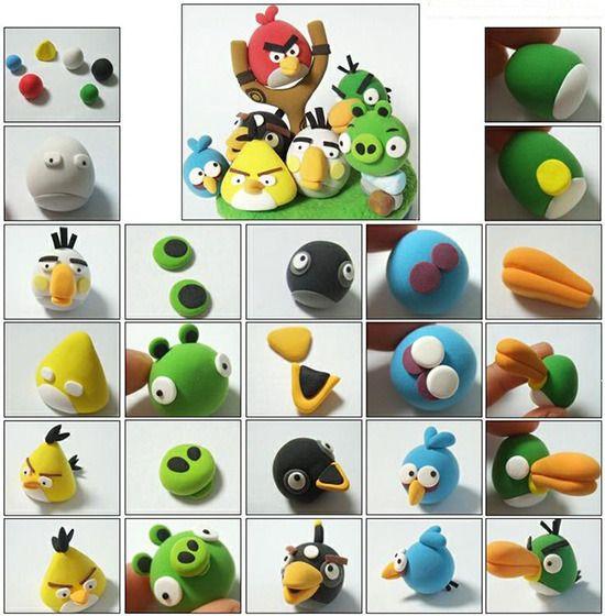 Как сделать птиц Ангри Бердз (Angry Birds) и зеленых свинок из мастики?