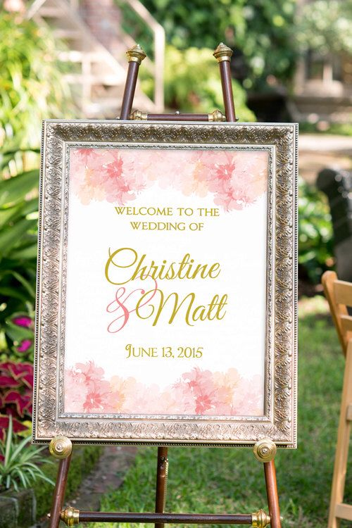 Blush and gold Wedding Sign, Large Custom Wedding Sign Printable, Hashtag Wedding Sign, Romantic Wedding, Vintage, Welcome Sign by nelladesigns on Etsy https://www.etsy.com/listing/210841287/blush-and-gold-wedding-sign-large-custom