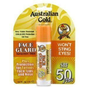 Australian Gold Face Guard SPF 50 Plus by Australian Gold. $10.05. Australian Gold SPF 30 Plus Face Guard Sunscreen Stick provides high protection against sunburn and tanning.. Use on all areas for extra protection including scars, tattoos, face, lips, nose and ears. Face Guard offers 30 times your natural sunburn protection. Helps prevent, soothe, heal and protect dry facial areas and lips.. Retains SPF after 80 minutes of activity and sweating.. UV Protection Stick   * Wat...