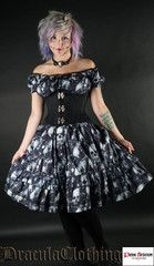 Skulls Gothabilly Dress By Dracula Clothing