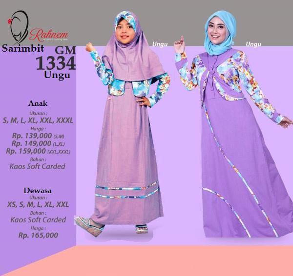 Jual beli Baju Gamis Sarimbit Ibu & Anak Rahnem GM-1334 Ungu di Lapak Aprilia Wati - agenbajumuslim. Menjual Baju Muslim Couple - Baju Gamis Sarimbit Ibu & Anak Rahnem GM-1334 Ungu Harga : Rp. 324.000  Baju Gamis Wanita Rahnem GM -1334 Kode : GM-1334 Ready : ***** SALEM (XS-S-XXL) ***** UNGU (S-L)  Pilihan Warna: SALEM & UNGU Bahan : Carded + Katun Harga : Rp 165.000,- Size : XS, S, M, L, XL, XXL  Rahnem Anak GH-1334 Kode : GH-1334 Warna : Ungu & Salem READY : ...