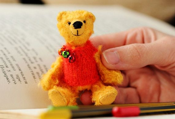 Winnie the Pooh  OOAK Collectible Teddy Bear  3.1 by BearMyFriend