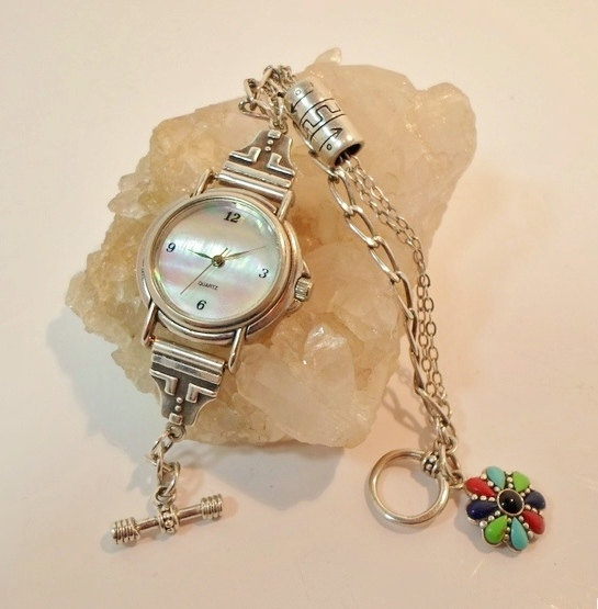 Sterling Silver Watch with Gemstone Toggle, Bead, and Sterling Chain