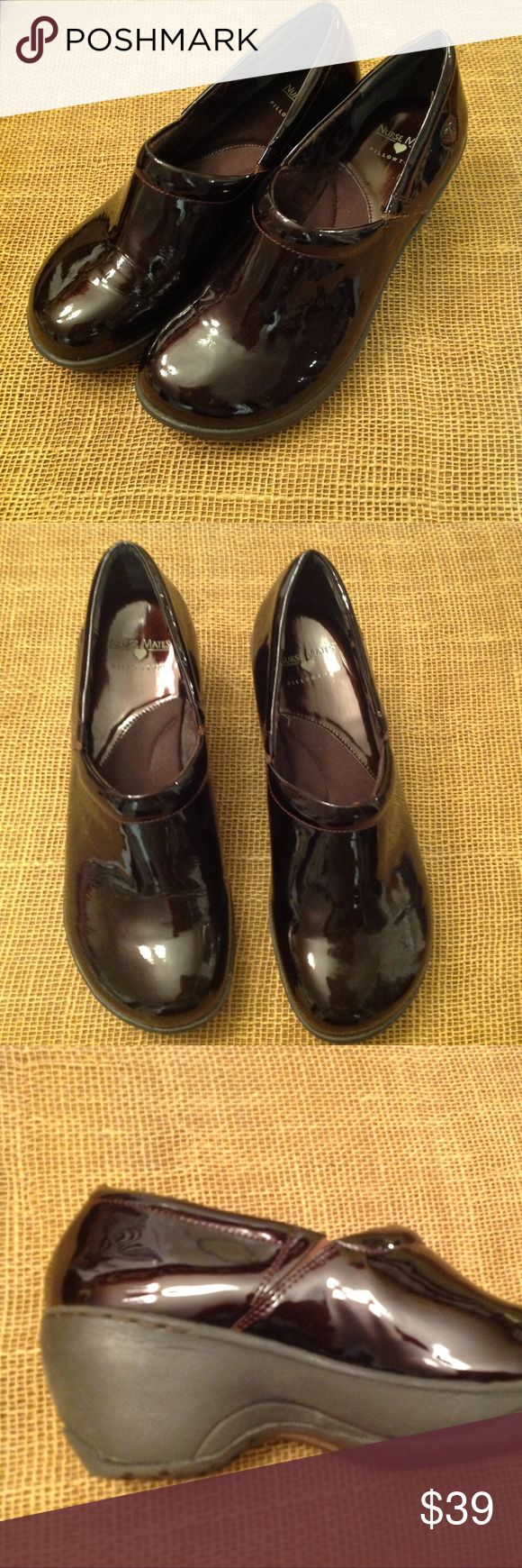 "Bryar Pillow Top Slip On's Nurse Mates, very lightweight and very comfortable clogs. Dark burgundy patent leather, with 2.5"" heel. New condition. Nurse Mates Shoes Mules & Clogs"
