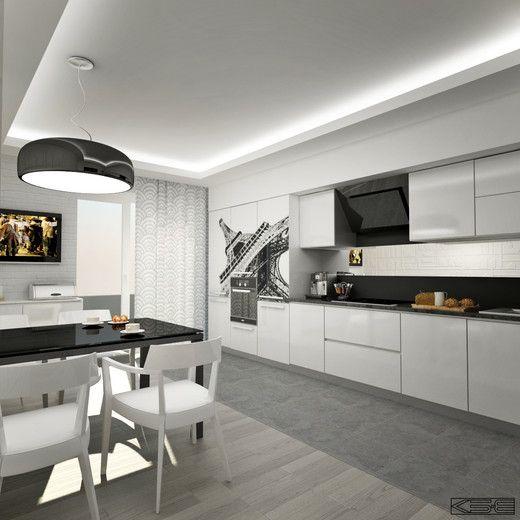 Черно-белый интерьер. Кухня