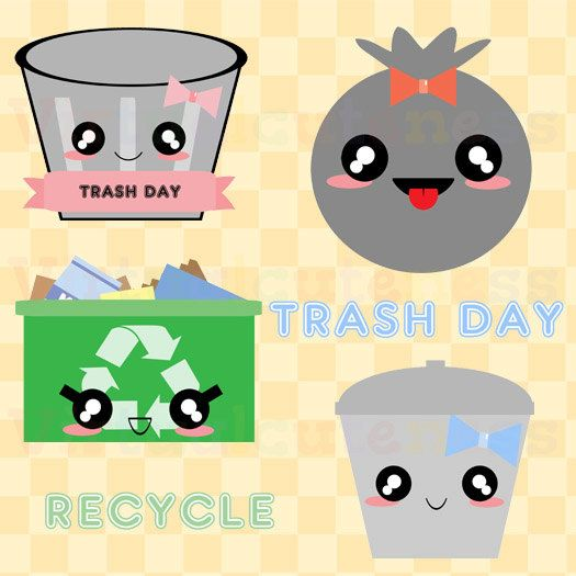 Kawaii Trash Day Clip Art Recycle Clipart Cute by ...
