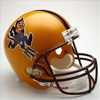"""Arizona State Sun Devils Full Size """"Deluxe"""" Replica NCAA Helmet by Riddell. $83.99. Riddell NCAA Replica Helmets (Rid). A fullsize shell that is slightly smaller than the collegiate authentic helmet. Replica decals from official logos. Some come with internal plate. A great, affordable way to show how much you care for your alma mater or favorite team!. Painted full-size shell with steel polyvinyl-coated facemask and throwback replica decals. Not for competitive play. This is an ..."""