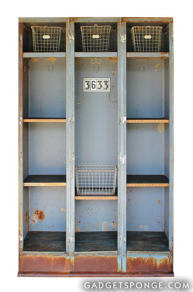 I took a vintage triple-set of lockers and converted them into a lot of open storage. [media_id:1835832] The original doors were very stubborn so I had to cut t…