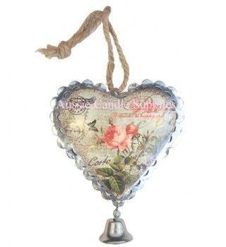 Antique Pink Flower Heart $1.50