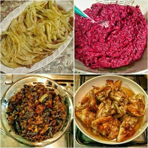 Селёдочка с лучком, свёколка с чесночком под майонезом, жареные грибочки с луком, куриные крылышки на сковороде, что может быть лучше на ужин после баньки?