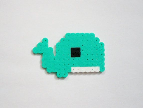 Baby WHALE // Teal Blue-Green Seagreen Cute Kawaii Perler Beads Animals // Magnet Keychain Pin (pick your finish)