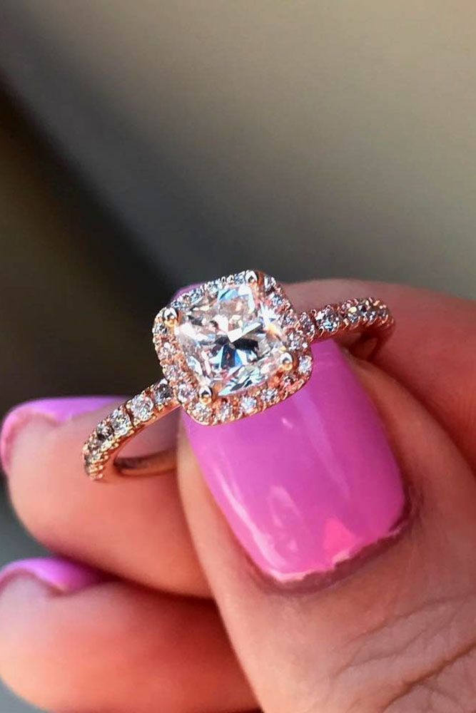 engagement ring trends rose gold halo cushion cut diamond pave band #bridalrings