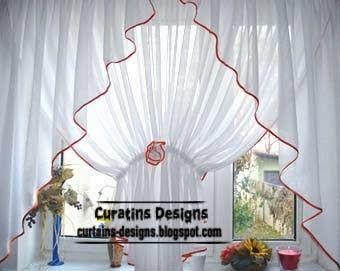 light white curtains designs for kitchen window decoration