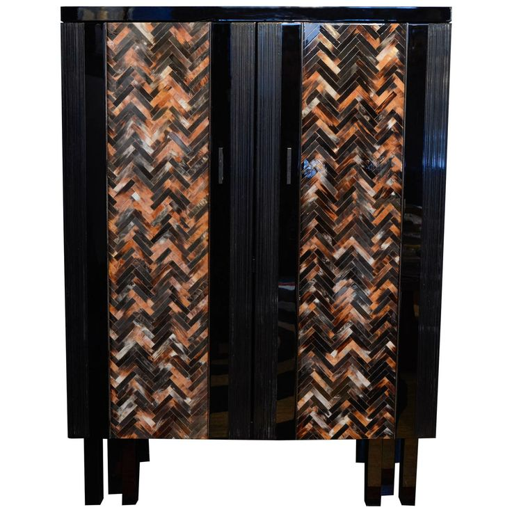 Black Lacquered Cabinet With Horn Chevron Pattern by Fernand Dresse | From a unique collection of antique and modern cabinets at http://www.1stdibs.com/furniture/storage-case-pieces/cabinets/