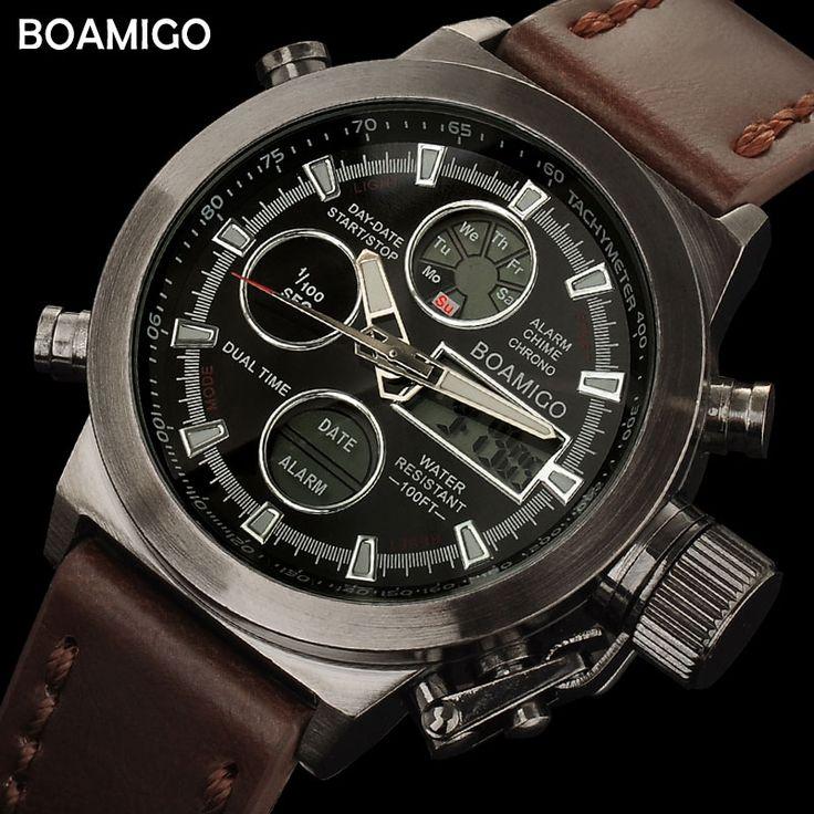 Спорт boamigo мужские спортивные часы коричневый кожаный ремешок Человек военный кварцевые светодиодный цифровой аналоговый Повседневная на...