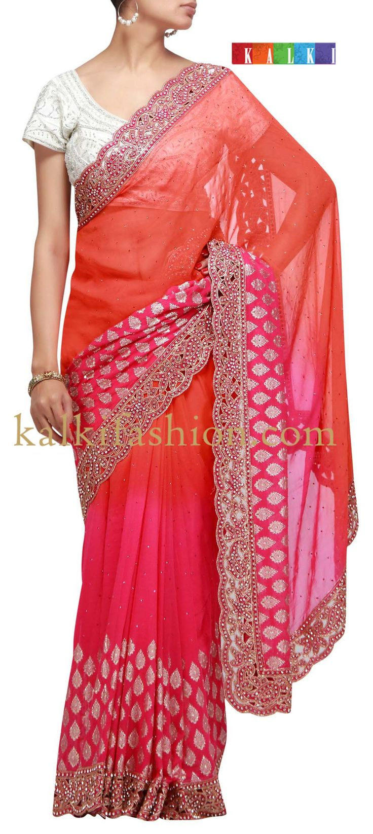 Buy it now  http://www.kalkifashion.com/dyed-saree-in-pink-and-orange-with-cut-work-embroidery-handmade.html  Dyed saree in pink and orange with cut work embroidery Handmade