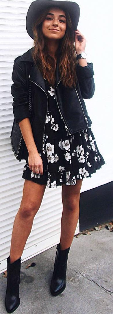 Raspberry And Red Black Booties B W Floral Little Dress Black Moto Jacket Fall Inspo