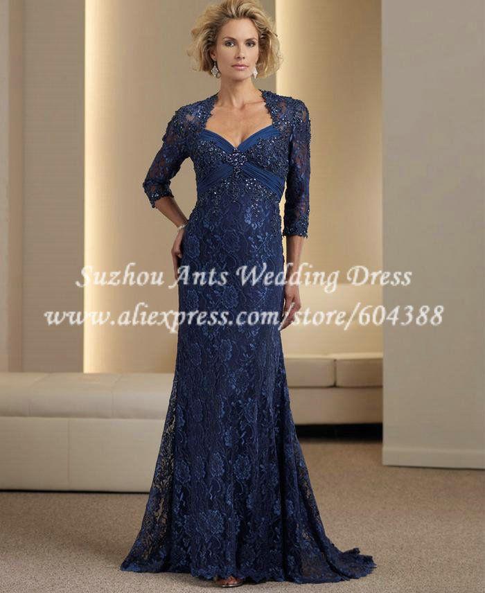 Aliexpress.com: Suzhou Ants Wedding Dress Co.,Ltdより信頼できる dress white dress サプライヤからエレガントな恋人3/4袖の母花嫁のレースのドレスの床の長さの花嫁の母親のためのダークブルーのドレスvestidoメイダnoivaを購入します