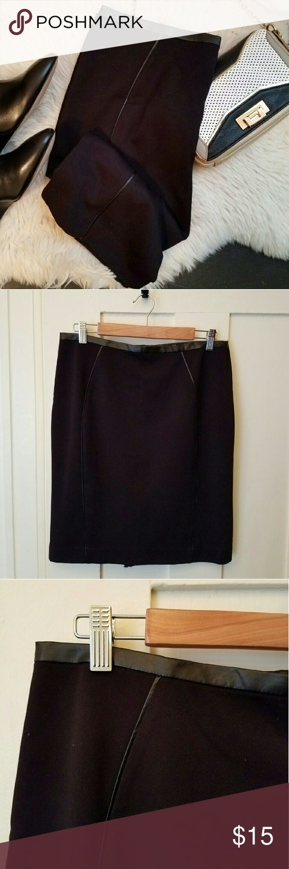"""H&M leather trimmed pencil skirt NWT black pencil skirt by H&M. Cute faux leather trim on the front and back and at the waist. Zipper closure, back vent. Size 12, but runs small. Waist measures 16"""" when lying flat, 21"""" long. Booties and purse are also for sale in my closet! H&M Skirts Pencil"""