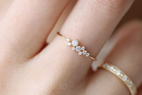 Elegant ring - Gold accent with cubic zirconia formed leaves - Great to go with my summer dress
