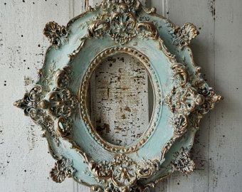 Antique plaster picture frame ornate antique French shabby cottage chic cream white/ soft blues distressed gold accented anita spero design