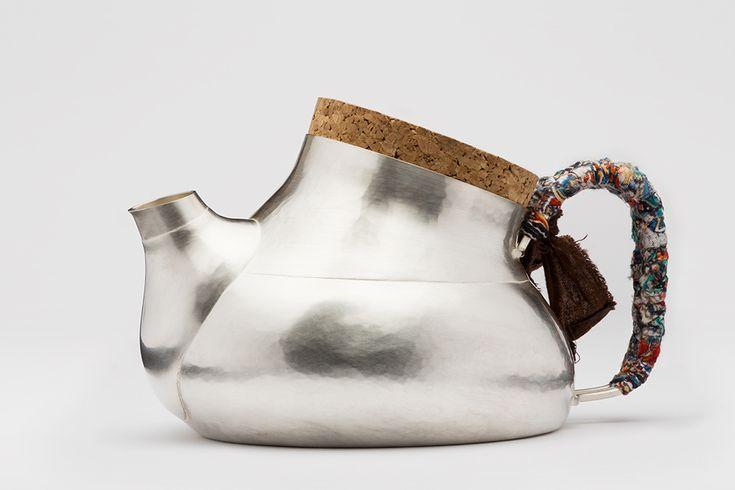Lena Jerström. Object: Pitcher with cork. Sterling silver, cork, textile.. Photo by: Christian Habetzeder.