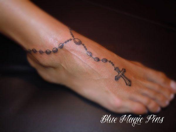 Rosary cross around ankle by ravenwarlock.deviantart.com on @deviantART
