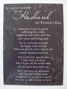 fathers day memorial | FATHERS DAY LOVING MEMORY MEMORIAL GRAVE CARD - HUSBAND | eBay