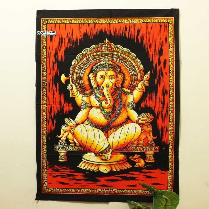 Red Ganesha Fabric Poster