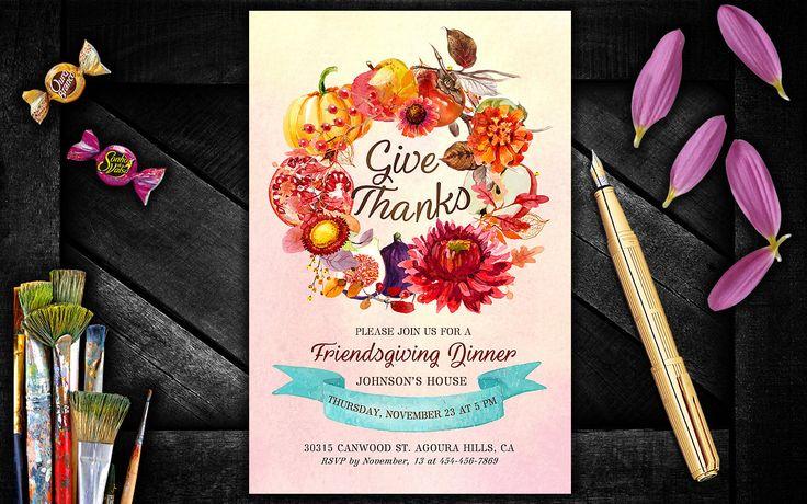 Thanksgiving Party Invitations,  Friendsgiving Invitation, Thanksgiving dinner invite, Thanksgiving Invitations Editable Digital by PrintablesForEvents on Etsy