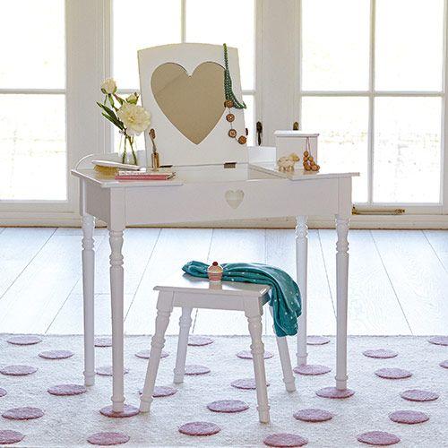 Sweetheart Dressing Table & Stool - White