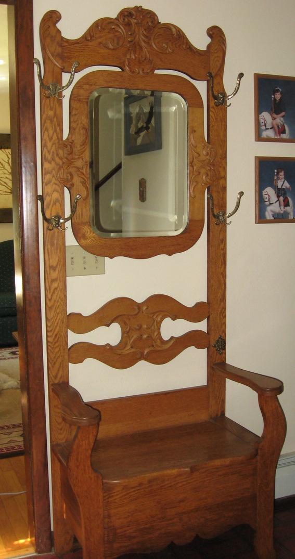 Antique Oak Hall Tree Coat Rack Chair Design Golden
