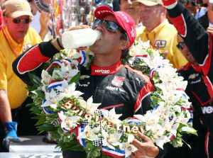 Juan Pablo Montoya celebrating his win of the 2015 Indianapolis 500 by drinking the traditional  - milk! -- #Indianapolis500 #Indiana #USA #JuanPabloMontoya #Milk #winners #Drinking #Indianapolis #NorthAmerica