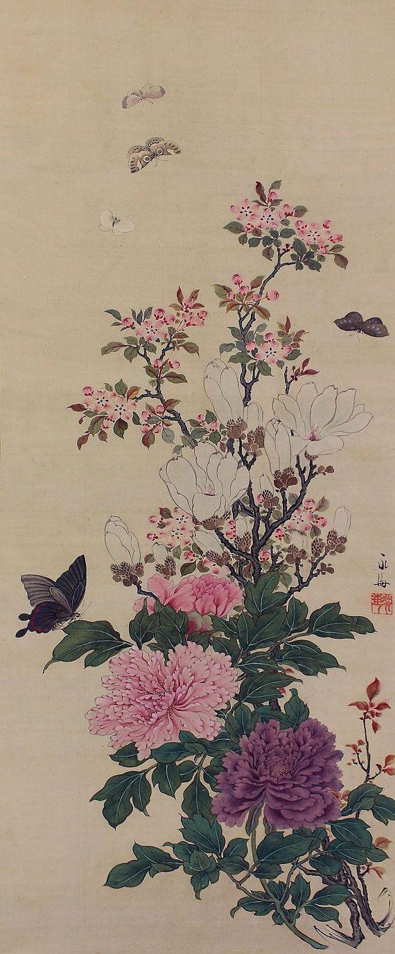 Butterfly and Blossoming Peony Flower Kakejiku. Japanese hanging scroll painting.