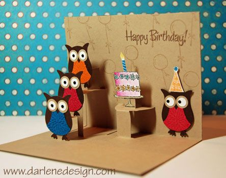 Pop ups and owls. What could be better? She features a simple version for beginners and this more advanced version.