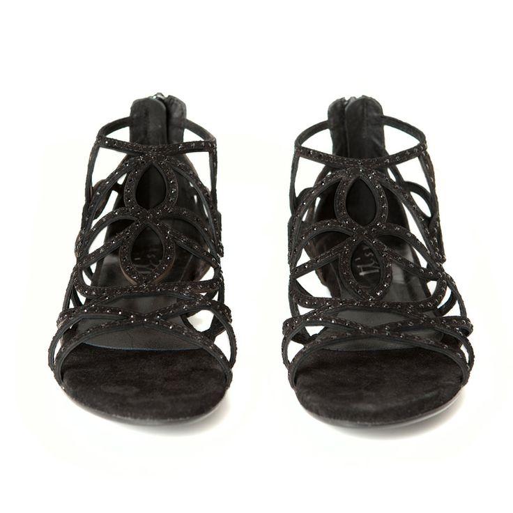 Sandalias planas con tiras de ante negras y brillantes incrustados Mas34 http://www.mas34shop.com/tienda/jep-set/