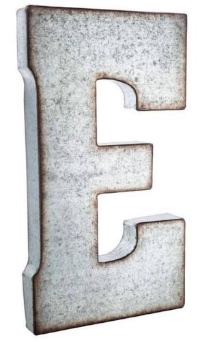 Large 20 silver galvanized vintage metal letter e marquee for Metal marquee letters hobby lobby