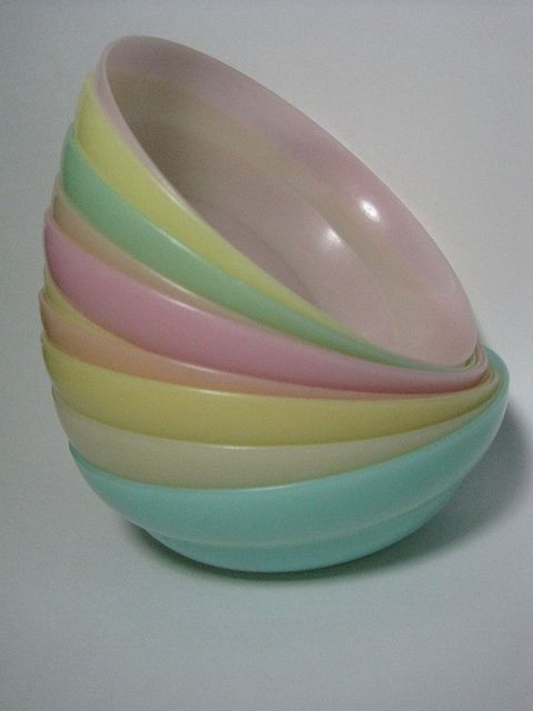 These were the best cereal bowls.  You would fill the milk to the bend in the bowl.  Vintage tupperware.