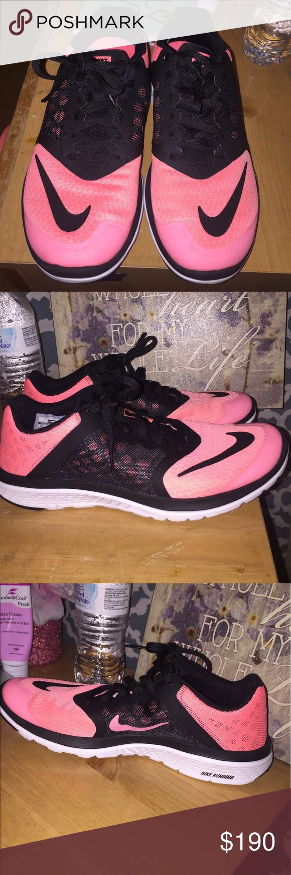 NIKE Fusion lite run 3 Custom made. Hot pink & black. Barely worn as my feet are too wide. So comfortable and cute. Nike Shoes Sneakers