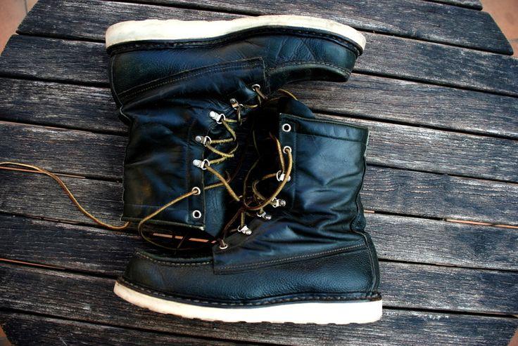 vintage 1950s red wing irish setter boots dunkelgruen 42 very