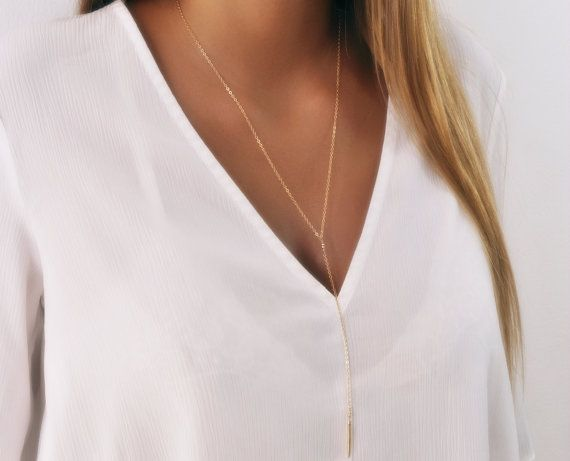 Long Gold Y necklace Gold Lariat Necklace Layering by annikabella